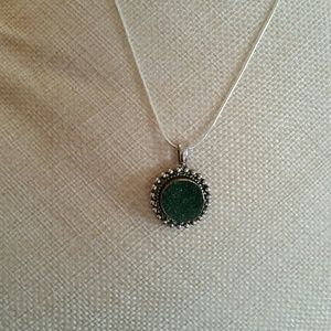 """Green Druzy necklace on 18"""" silver snake chain."""